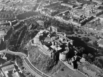 Old Aerial Photograph Edinburgh Castle Scotlan