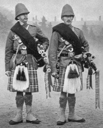 Old Photograph Bagpipers Black Watch Scotland
