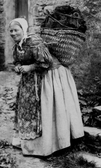 Old Photograph Hebridean Peat Carrier Scotland