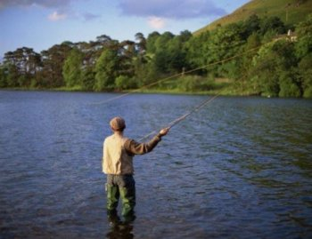 Fly fishing on the River Dee Scotland